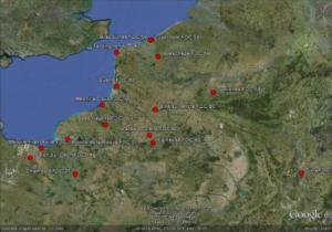 Répartition des sites de dénombrements spécifiques aux migrateurs terrestres